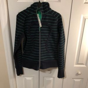 Dark blue and green lululemon zipper hoodie